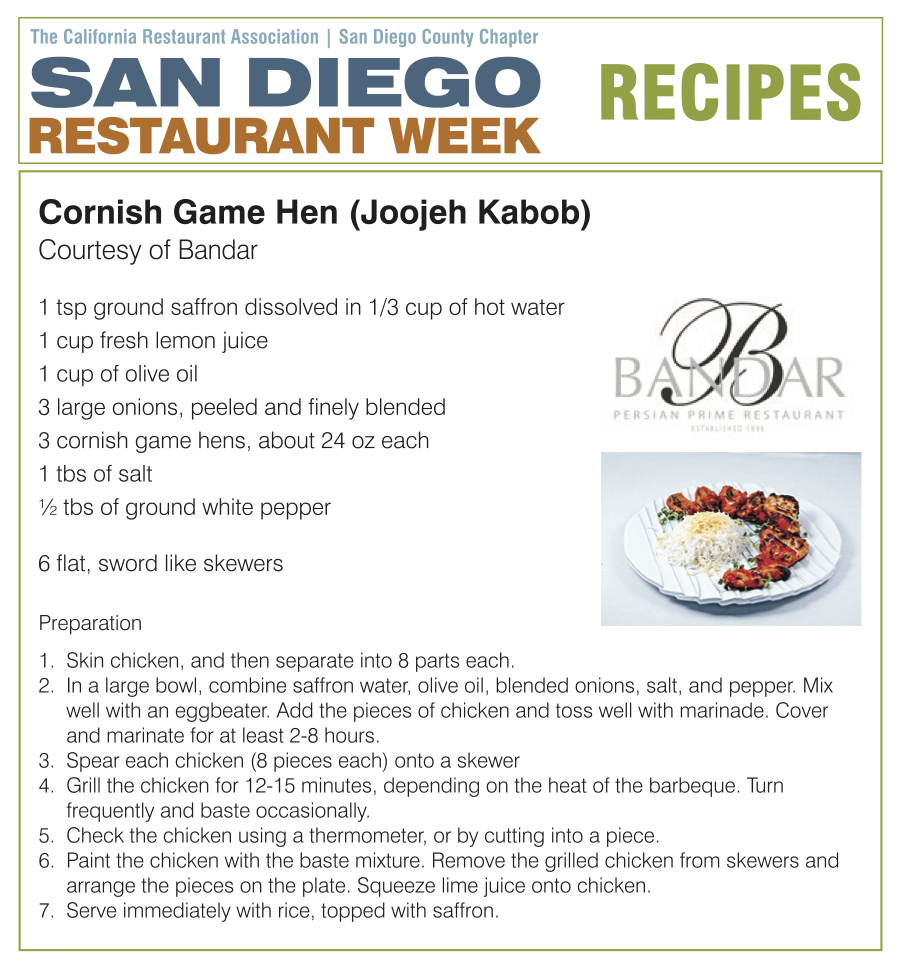 Cornish Game Hen:Joojeh Kabob Recipe